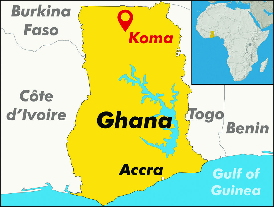 A map of Ghana with the Koma project pinpointed in the North