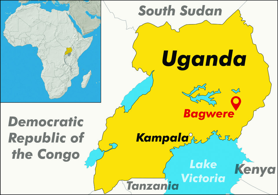 Map of Uganda, showing location of Bagwere project in the East