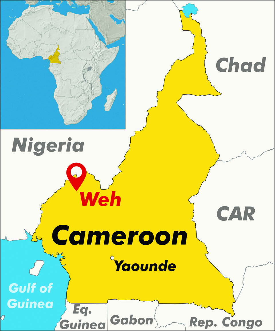 Map of Cameroon showing location of Weh project in the West