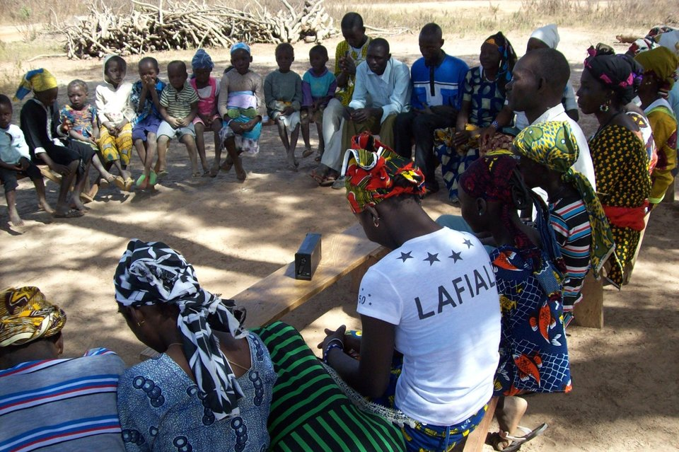An Audio Bible listening group in West Africa